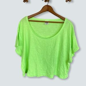 PINK by Victoria's Secret VS Neon Green Cropped T